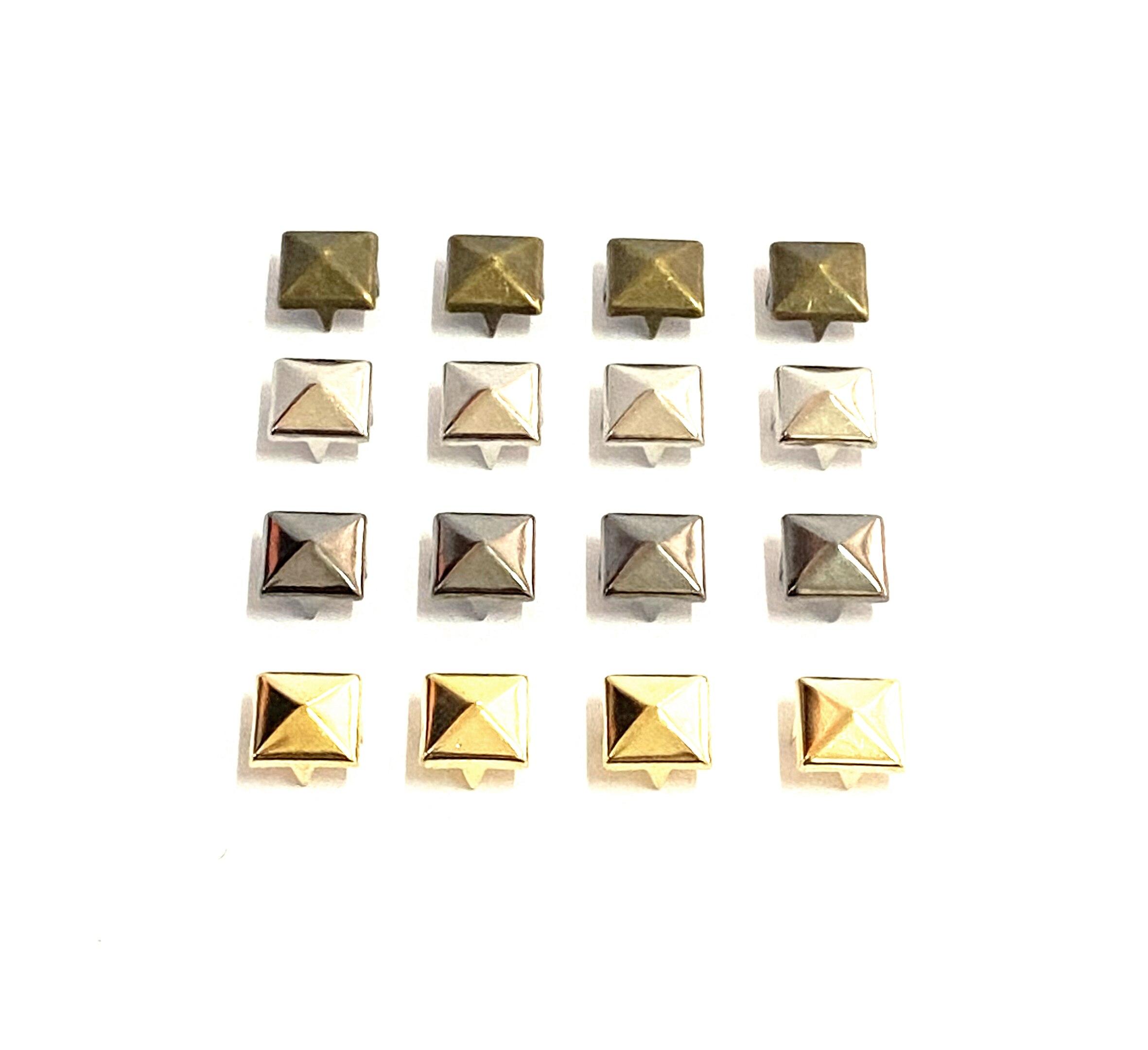 100 pezzi di 6-12mm rivetto a 4 artigli piramide quadrata/chiodo in metallo rivetto affusolato vestiti/scarpe/borse/chiodi in pelle su punk fai da te
