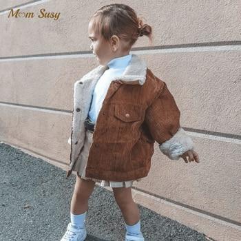 Модная зимняя куртка для маленьких девочек и мальчиков теплое пальто из вельвета с мехом для маленьких детей верхняя одежда для малышей, одежда высокого качества, От 1 до 5 лет