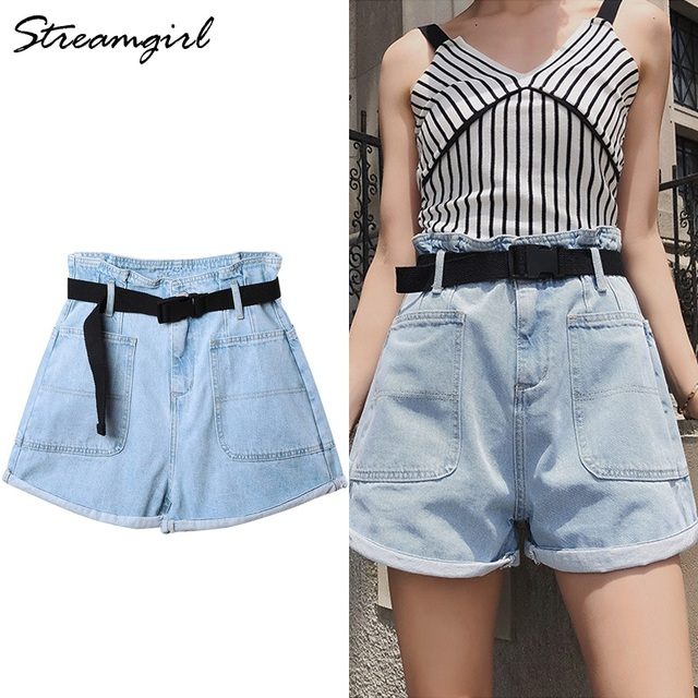 Summer High Waisted Shorts For Women With Belt Loose Short Jeans Women Denim Shorts With Pockets Jeans Short Woman Casual