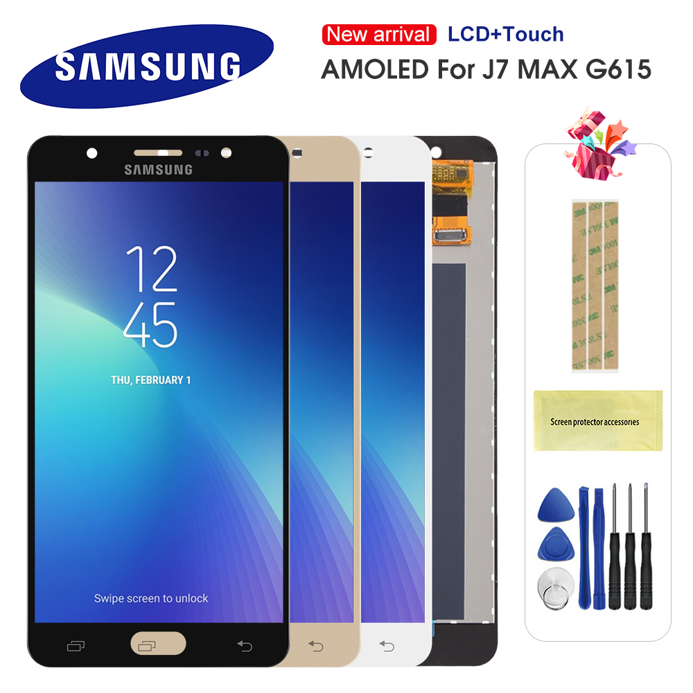 Super amoled lcd para samsung galaxy j7 max g615 display lcd de tela toque digitador assembléia substituição para j7 max tela lcd