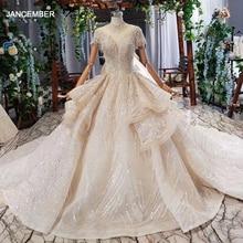 HTL695 งานแต่งงานชุดในดูไบสูงคอสั้นแขนรัดตัวแอฟริกันงานแต่งงานชุด ruffle สไตล์ Robe de mariage 2020