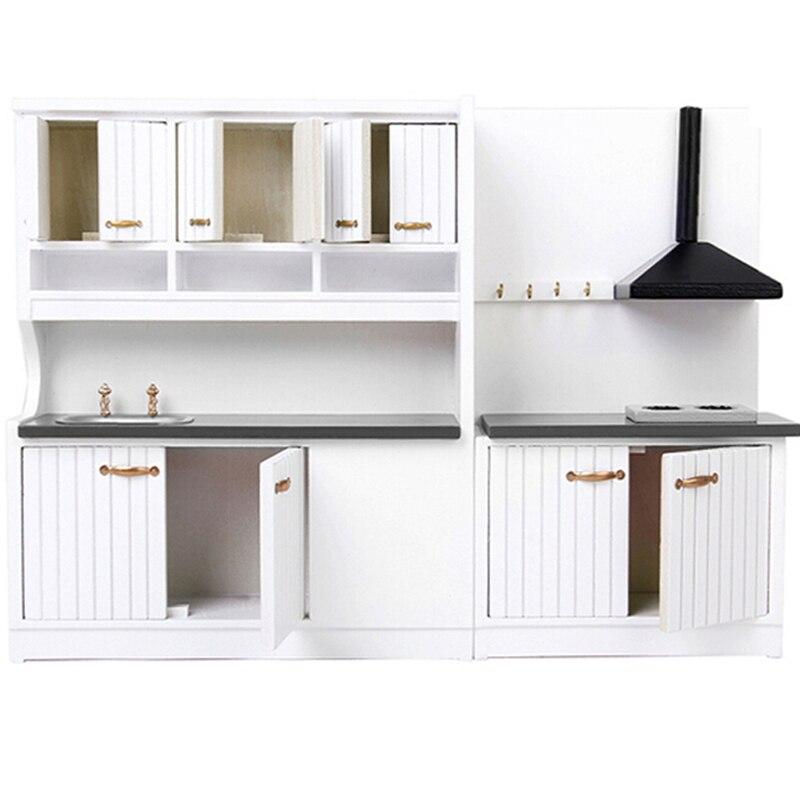 Luxury White Wooden Cabinet Refrigerator Fridge Furniture For 1/12 Dolls House Kitchen Dinning Room Miniature Decoration