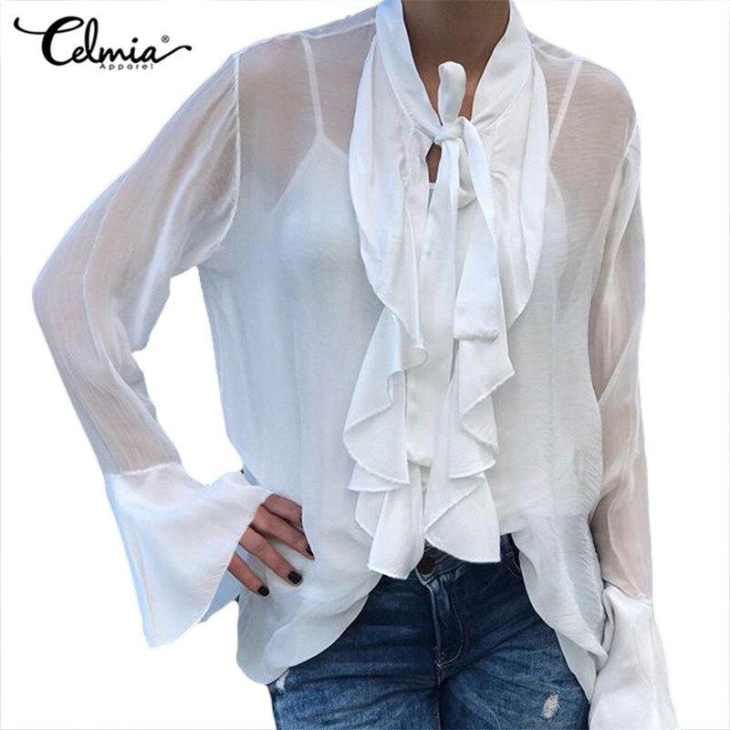 Plus Size S-5XL Celmia Women Sexy Sheer See-through Ruffles Blouse Bow Tie Stylish Tops Long Sleeve Ladies Casual Shirt Feminina