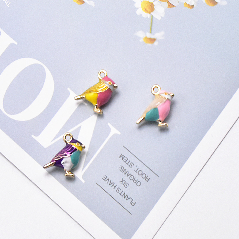 10pcs 15*17mm 3D Cute Bird Enamel Charms Metal Magpie Swallow Pendants Fit Necklace Bracelet DIY Fashion Jewelry Accessory FX518
