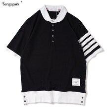 Nova versão coreana da camisa polo masculina verão respirável de alta qualidade 2021 piqué listrado camisa masculina simples design de botão