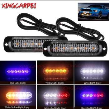 2/4 pcs 6 LED Flash Strobe Emergency Warning Light For Car Auto Truck SUV Motorcycle Side Strobe Warning Flashing Light 12V-24V фото