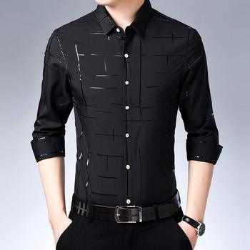 Luxury Plaid Long Sleeve Slim Fit Social Dress Shirts 7