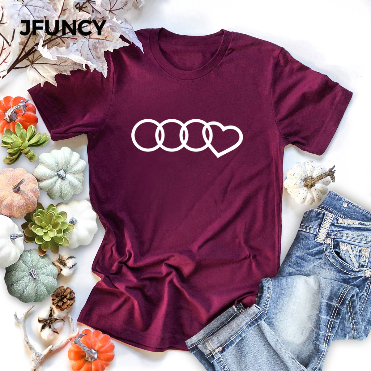 JFUNCY Spoof Brand Print Women T-Shirt New 100% Cotton Woman Shirts Plus Size Summer Casual Tshirt Short Sleeve Mujer Tees Tops