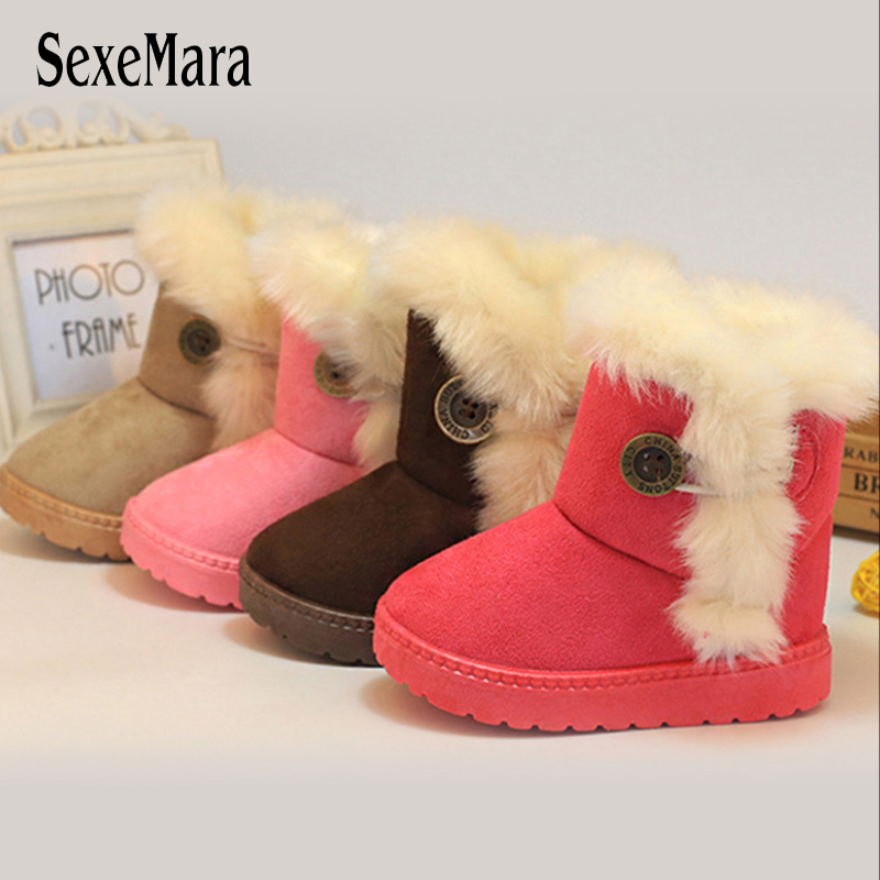 Classic Turned-over Baby Plush Children Boots For Boys Girls 2019 Artificial Fur High Top Keep Warm Kids Shoes Not Smooth C06041
