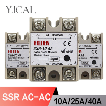 SSR-10AA SSR-25AA SSR-40AA 10A 25A 40A Solid State Relay Module 80-250V Input AC 24-380V AC Output High Quality yjcal solid state relay ssr 10aa ssr 25aa ssr 40aa 10a 25a 40a ac control ac relais 80 250vac to 24 380vac ssr 10aa 25aa 40aa