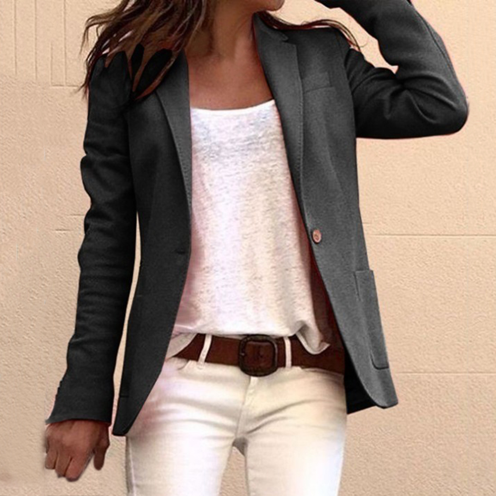 2019 Casual Slim Blazer Feminino Women Solid One Button Coats Top Suit Office Lady Blazer Jacket Femme Open Stitch Streetwears