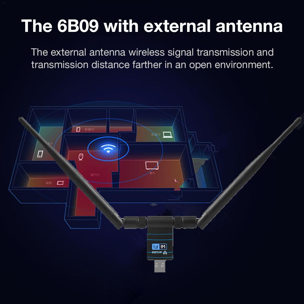 Wireless WiFi Router Network 1200Mbps Card 3.0 USB Signal Receiver Adapter 2.4GHz/5GHz Dual-band PC Antenna For Home