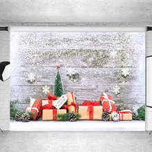 Christmas Tree Wooden Board Photography Backdrops Winter Snowflake Gifts Toy Newborn Baby Kids Photographic For Photo