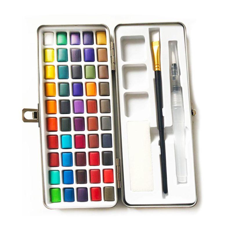 50 cores solidas aquarela pintura pigmento conjunto portatil para iniciantes desenho materiais de arte