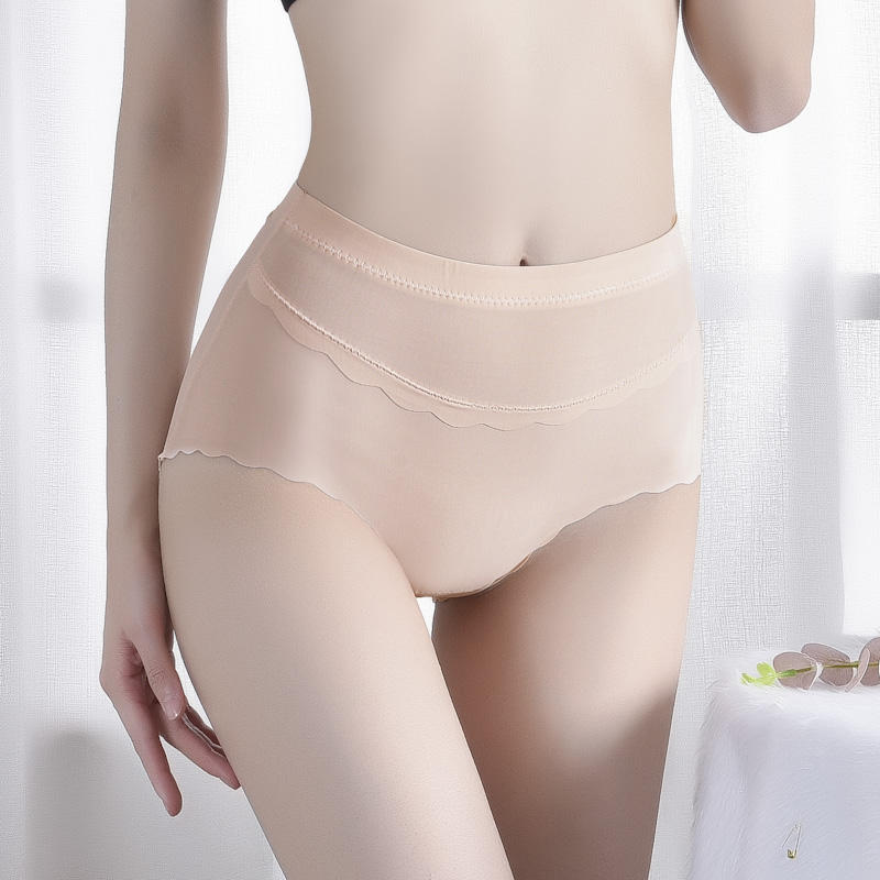 Ice silk high waist underwear female thin section wave side sexy panties breathable seamless women's briefs 4