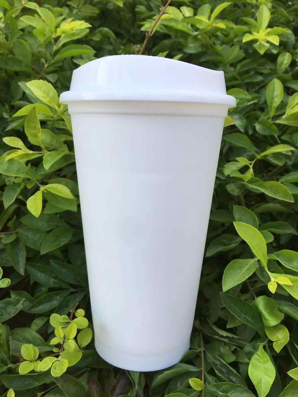 Bpa free waterproof 16oz food grade starbuckss matowe wykończenie wielokrotnego użytku plastikowy podróżny kubek do kawy z pokrywką bez drukowania
