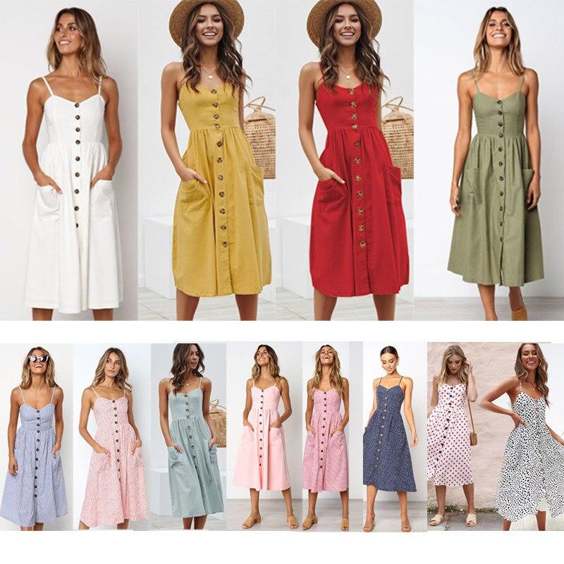 Women's Sexy Summer Midi Dresses Boho Backless Sleeveless Button Striped Dot Solid  Slip Sundress With Pockets Robe