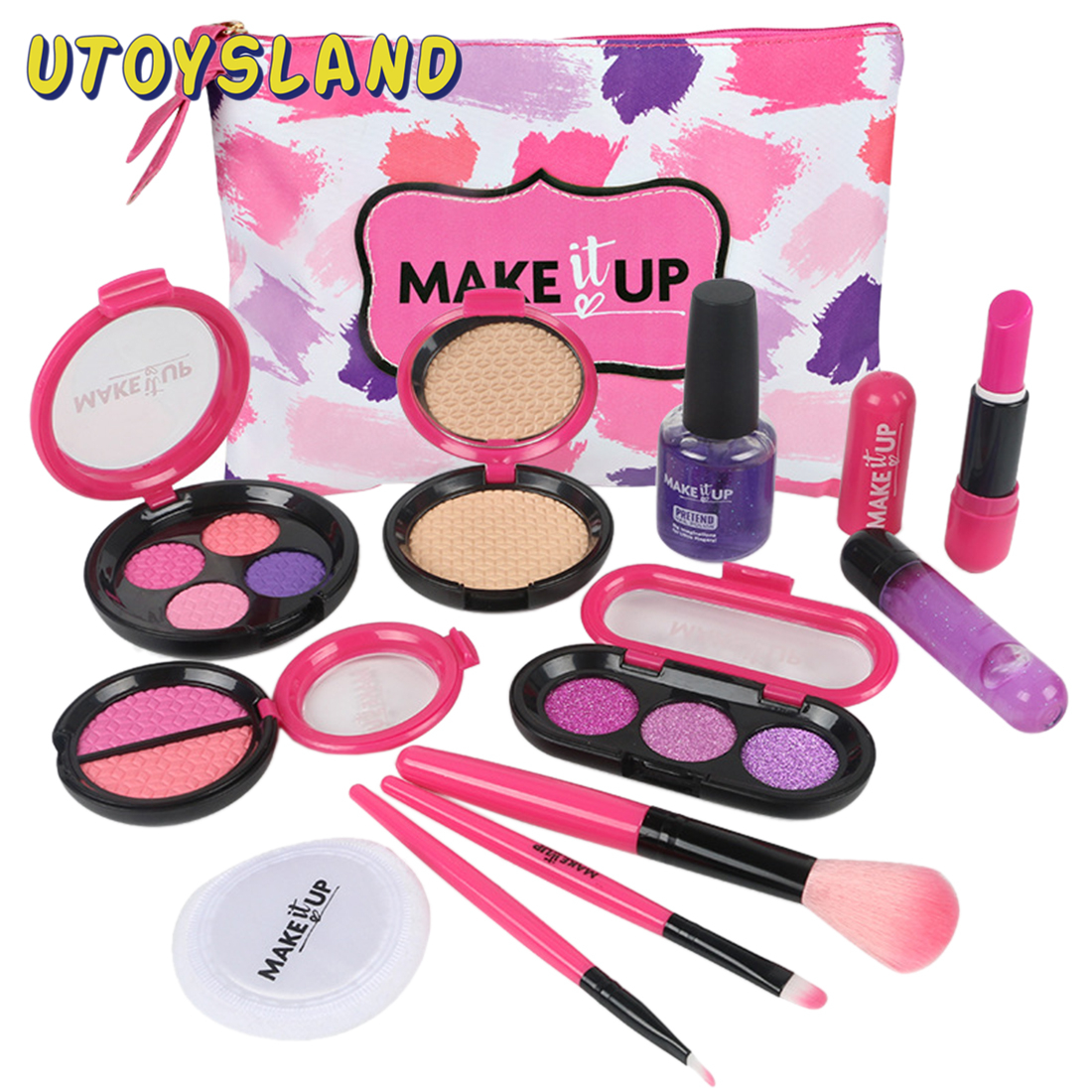 12pcs Children Makeup Set Beauty Pretend Play Simulation Cosmetic Bag For Children Baby Early Learning Educational Toys Girl Toy