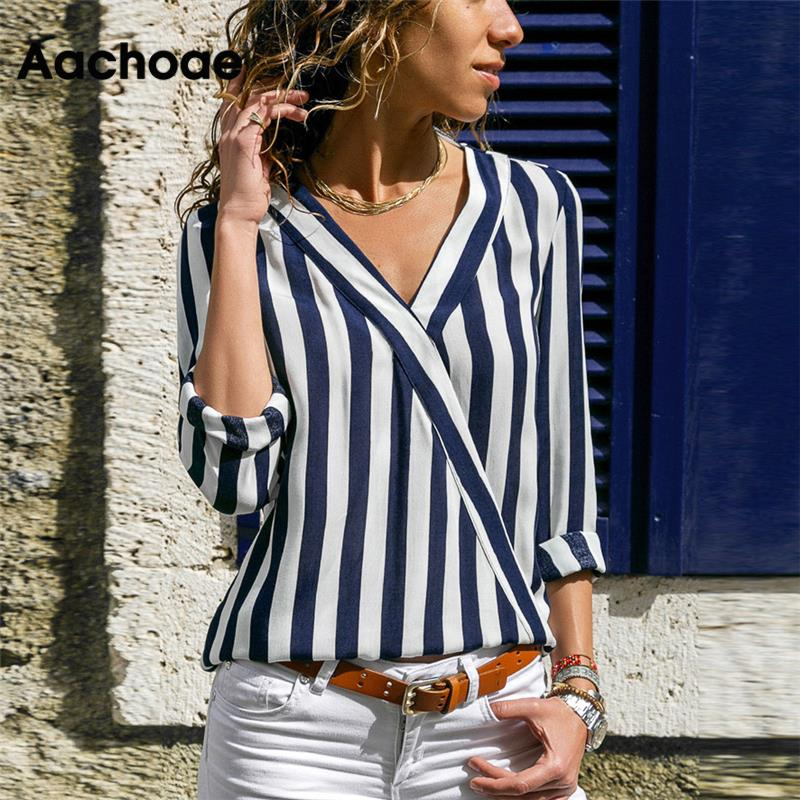 Aachoae Women Striped Blouse Shirt Long Sleeve V-neck Shirts Casual Tops Blouse et Chemisier Femme Blusas Mujer de Moda 2020