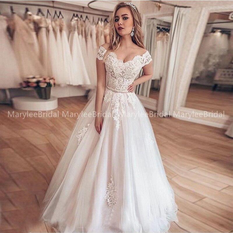 Vintage Off The Shoulder Wedding Dresses Appliques Floor Length Bridal Gowns Lace Up Back White Ivory Vestido De Casamento