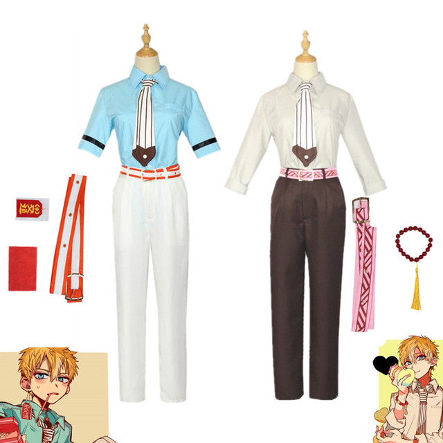 Anime Toilet-Bound Hanako-Kun Minamoto Kou Cosplay Costume Halloween Top Shirt Pants Accessories Props