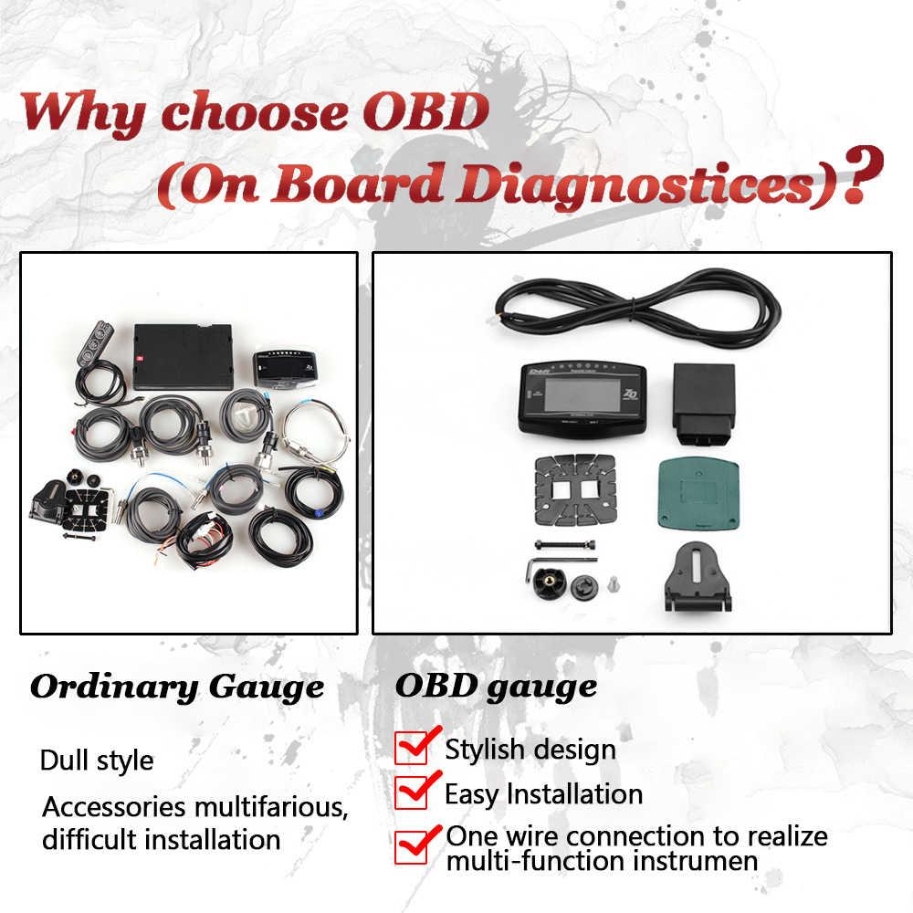 Defi العالمي 12 فولت OBD2 هود رئيس يصل عرض OBD II الرقمية متعددة الوظائف Tacho المياه درجة الحرارة سرعة ساعة الجهد عداد مقياس الوقود