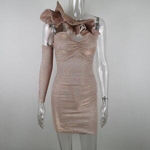 Image 5 - Jillperi女性構造化フリルネックスパークリングミニドレスセクシーなストラップレス変色セクシークラブドレスボディコン衣装ブリンブリンナイトクラブの摩耗ドレス