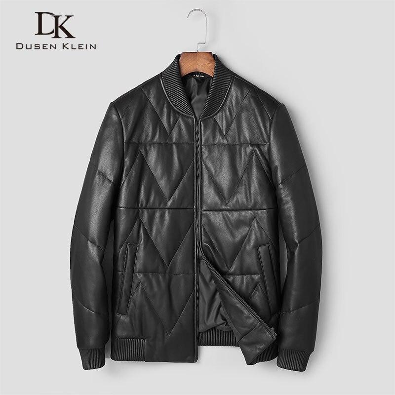 Hommes vestes d'hiver Nature en cuir vers le bas Dusen Klein court mince concepteur léger vers le bas manteaux décontracté en cuir noir vêtements t0066