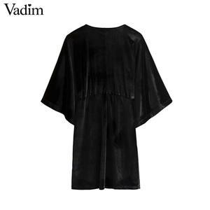 Image 2 - Vadim 女性のエレガントなベルベットミニドレス v ネック半袖ボタン a ラインパーティークラブ摩耗の女性のカジュアルドレス vestidos QD058
