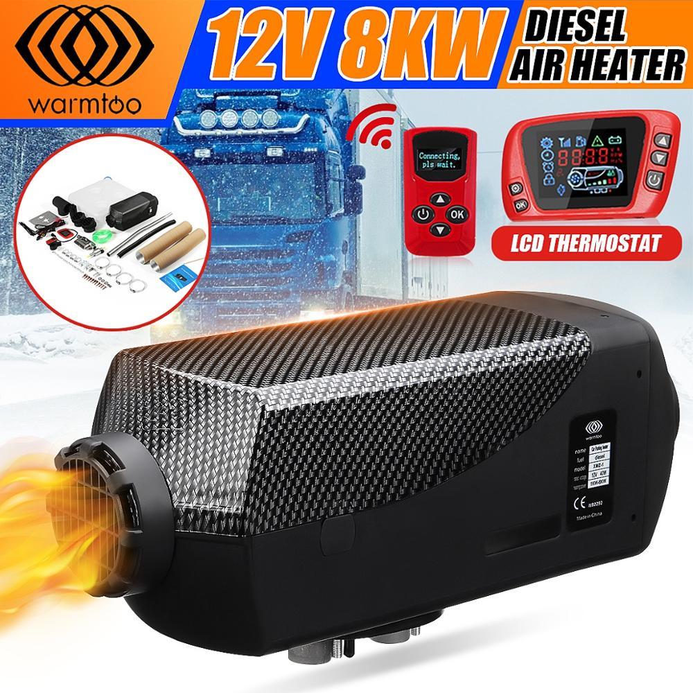 Escudo de metal aquecedor de carro 12 v 8kw mini display lcd ar diesel aquecedor triplo saída de ar + extrator óleo livre presente definido para barco ônibus