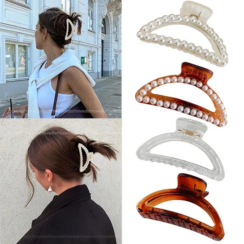 Elegant Pearl Women Hairpin Girls Hair Crab Claws Headwear Hairgrip Barrettes