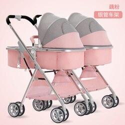 Wózek dla bliźniąt może siedzieć kłamstwo-Split wysoki krajobraz lekki składany amortyzator podwójny wózek drugi wózek dziecięcy