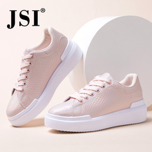 JSI spring casual shoes ladies flat shoes fashion snake pattern women flat sneakers thick bottom flat shoes wild women #8217 s shoes cheap Flat Platform Microfiber Rubber Lace-Up Fits true to size take your normal size Sewing Spring Autumn Solid Adult JY135