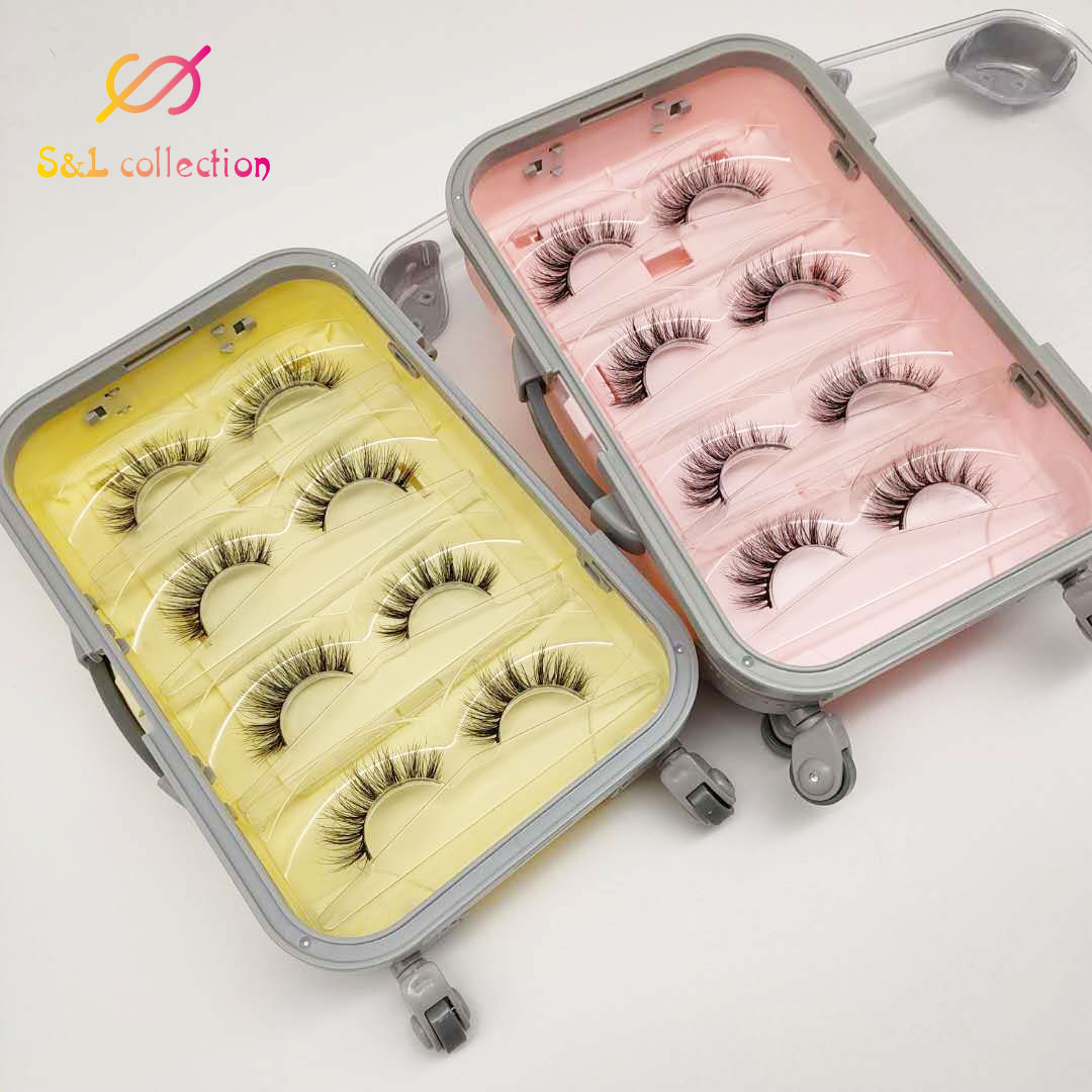 4 pcs elegante luxo cilios falsos mala vazia caixa de embalagem de chicote rosa amarelo cilios