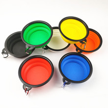 Dog Cat Water Food Bowl Silicone Portable Travel Feeder Outdoor Carrier Bowls Dispenser Bags Pet Accessories