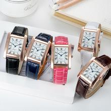 ROWNGO zegarki damskie bestsellery eleganckie zegarki Retro Ladies zegarki kwarcowe zegarki moda kobiety Casual skórzane zegarki tanie tanio MAITUOXI QUARTZ NONE Sprzączka CN (pochodzenie) STOP 3Bar Moda casual Rectangle 11mm Szkło DGM18B Metal 40 5mm