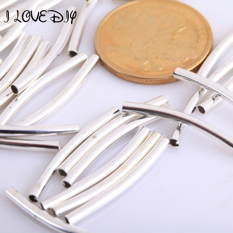 Оптовая продажа 100 шт./лот тибетский серебряный цвет гладкая изогнутая трубка соединитель длинная трубка очаровательные бусины для изготов...
