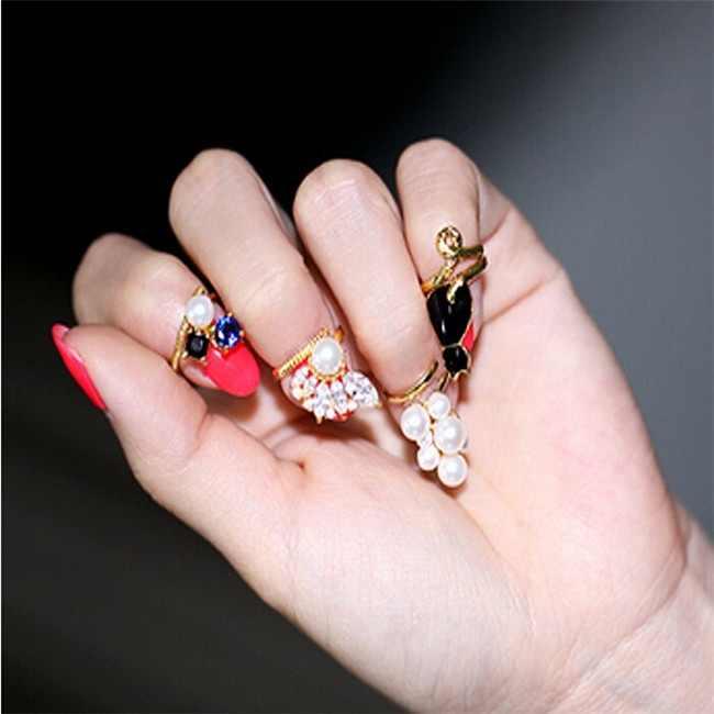 Женские Ретро винтажные жемчужные цветочные ногти серьга для пирсинга Искусство украшение наконечник обручальные кольца для женщин ювелирные изделия юбилей