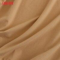 Tangada 2021 Women Elegant Shoulder Pads Knee Cotton Dress Summer Oversized Sleeveless Ladies Solid Dress 6L53 5