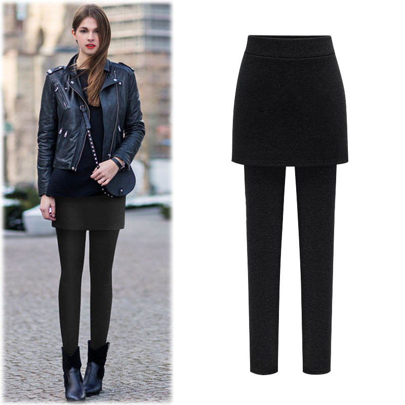 YGYEEG-Leggings de algodón para mujer, pantalones de dos piezas de imitación, color negro y gris, longitud hasta el tobillo, suaves, talla XXL, para otoño