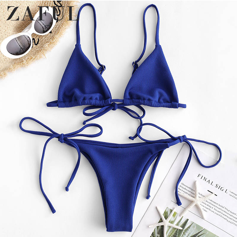 ZAFUL Ribbed Low Waisted Cami Bikini Set Spaghetti Straps Wire Free String Bikini Solid Women Swimwear Push Up Bathing Suit 2019