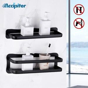 Image 1 - Prateleira do banheiro de alumínio prateleiras do banheiro montagem na parede prateleira do banheiro cozinha rack armazenamento fácil instalar