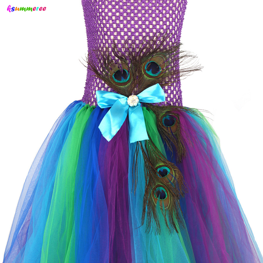 Flower Princess Peacock Costume for Girls Wedding Birthday Party Tutu Dress Kids Pageant Ball Gown Feathers Girl Tulle Dresses 6