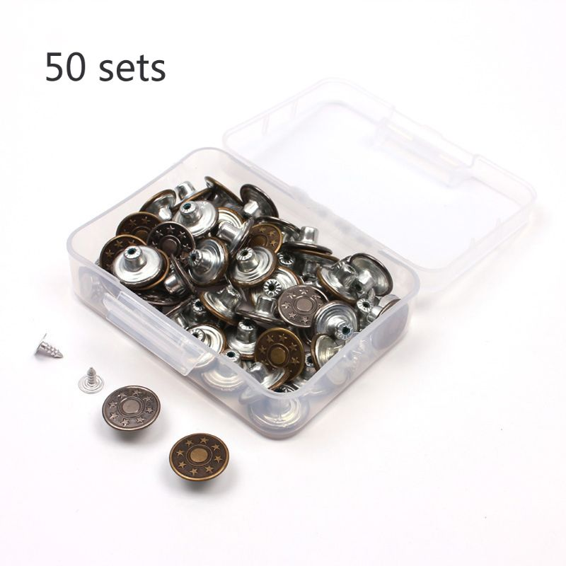 50 Sets Jeans Buttoms Metal Buttoms Snap Buttoms Replacement Kit With Rivets