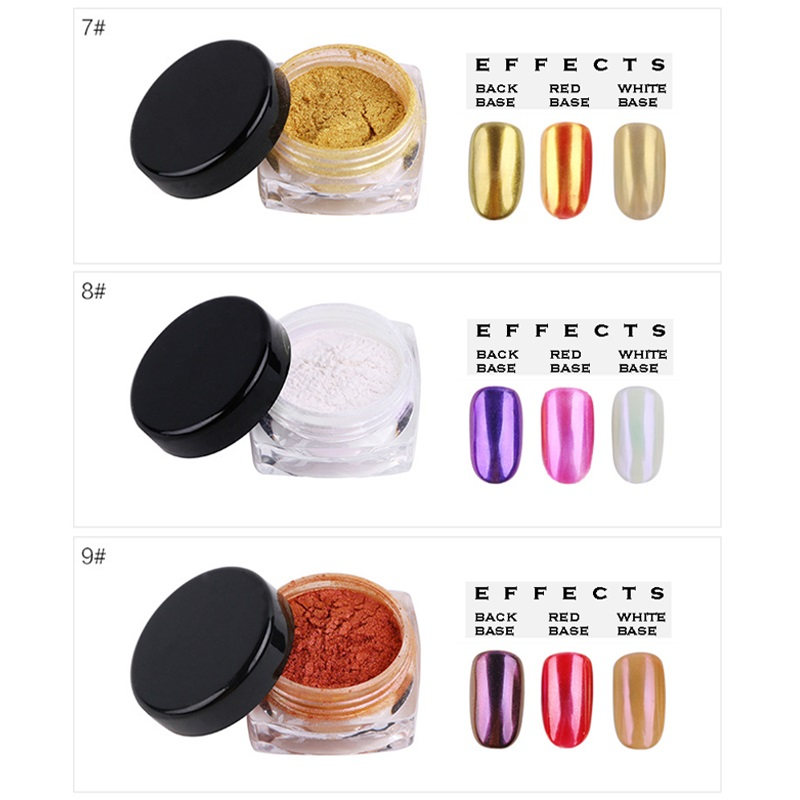 New Arrivals Mirror Nails Chrome Mirror Powder Magic Shining Miror Effect Nail Dust 16 Colors Nail Glitters in Nail Glitter from Beauty Health