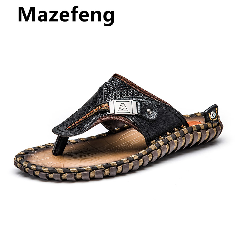 Brand Men Mazefeng Flip Flops 2019 Genuine Leather Slippers Summer Beach Shoes For Men Fashion Outdoor Sandals Male Plus Size 48