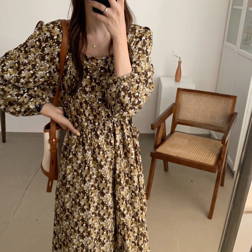 H361508a32ba045d794c6499cff57e234S - Autumn Square Collar Lantern Sleeves Floral Print Midi Dress