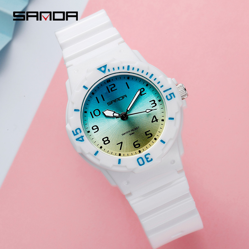 SANDA Hot Sell Fashion Women Silicone Motion Quartz Watches Wrist Watch Waterproof Clock Women's Watch Montre Homme