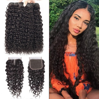 Beaudiva Hair Water Wave Bundles With Closure Curly Brazilian Human Hair Bundles With Closure Mink Brazilian Hair Weave Bundles