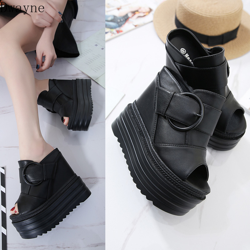14CM wedge super high heel increase within shoes muffin bottom women's shoes waterproof platform thick sandals and slippers